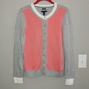 Tommy Hilfiger Gray Pink Button Cardigan Small
